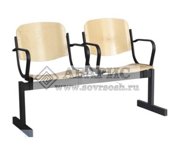 Блок стульев 2-х местный с подлокотниками и неоткидными сиденьями (фанера)