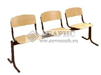 Блок стульев 3-х местный с неоткидными сиденьями (фанера)