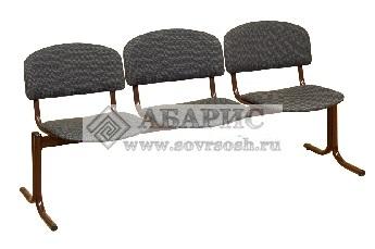 Блок стульев 3-х местный с неоткидными сиденьями (ткань серая)