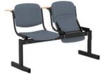 Блок стульев 2-х местный с пюпитрами, откидными сиденьями (ткань серая)