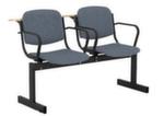 Блок стульев 2-х местный с пюпитрами, подлокотниками и неоткидными сиденьями (ткань серая)