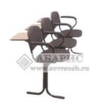 Блок стульев 3-х местный с пюпитрами, подлокотниками и неоткидными сиденьями (ткань серая)
