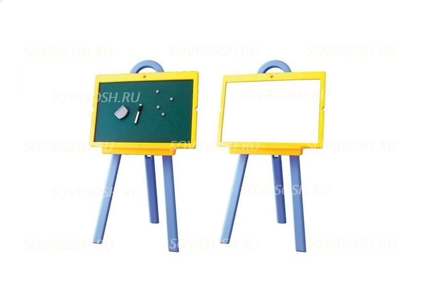 Мольберт двухсторонний детский для письма мелом и маркером (420x600)