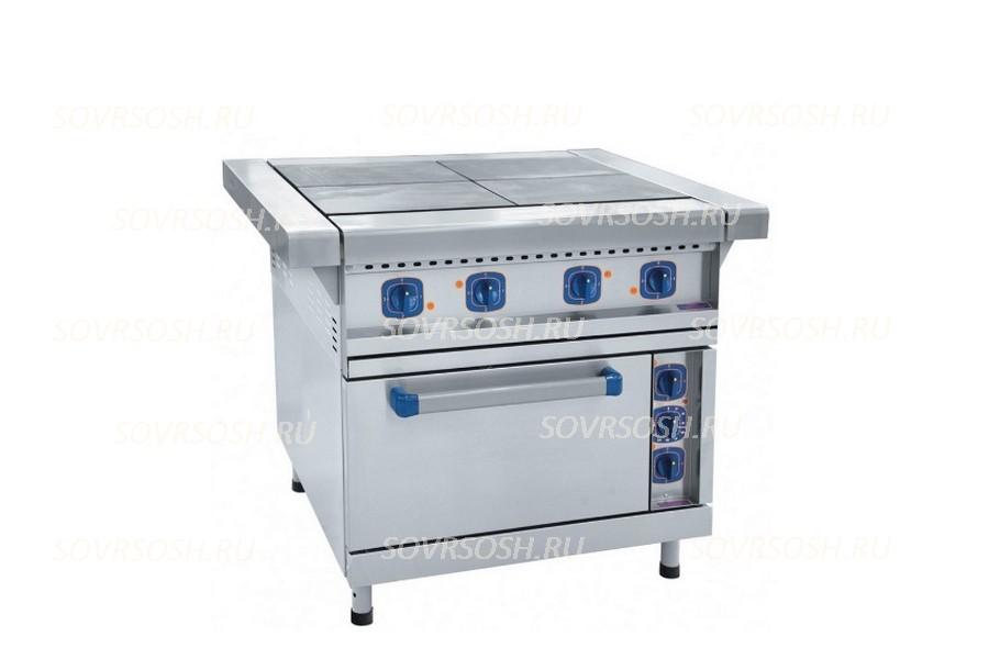 Плита электрическая 4-конфорочная с жарочным шкафом ЭП-4ЖШ / 16,8 кВт, 380В/ лицевая нержавейка