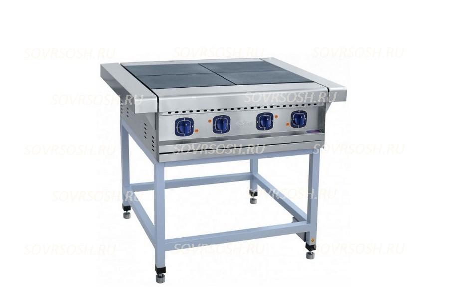 Плита электрическая 4-конфорочная без жарочного шкафа ЭП-4П / 12 кВт, 380В / вся нержавейка