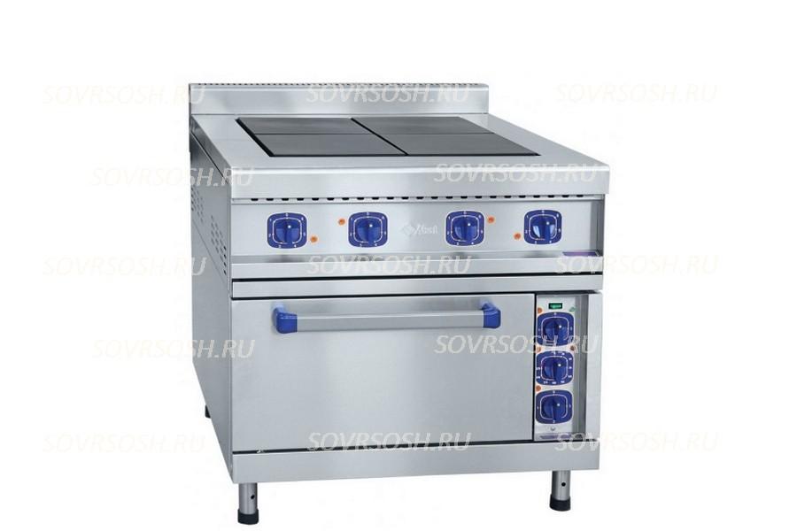Плита электрическая 4-конфорочная с жарочным шкафом ЭП-48ЖШ-К-2/1 / 17,9 кВт, 380В / вся нержавейка