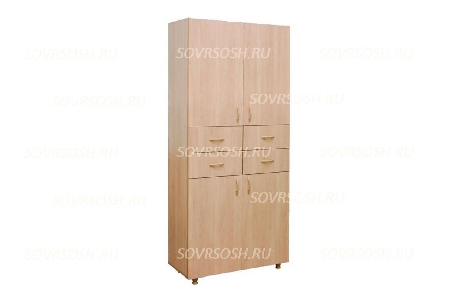 Шкаф с закрытым верхом (в центре ящики) (849х376х1835 мм)