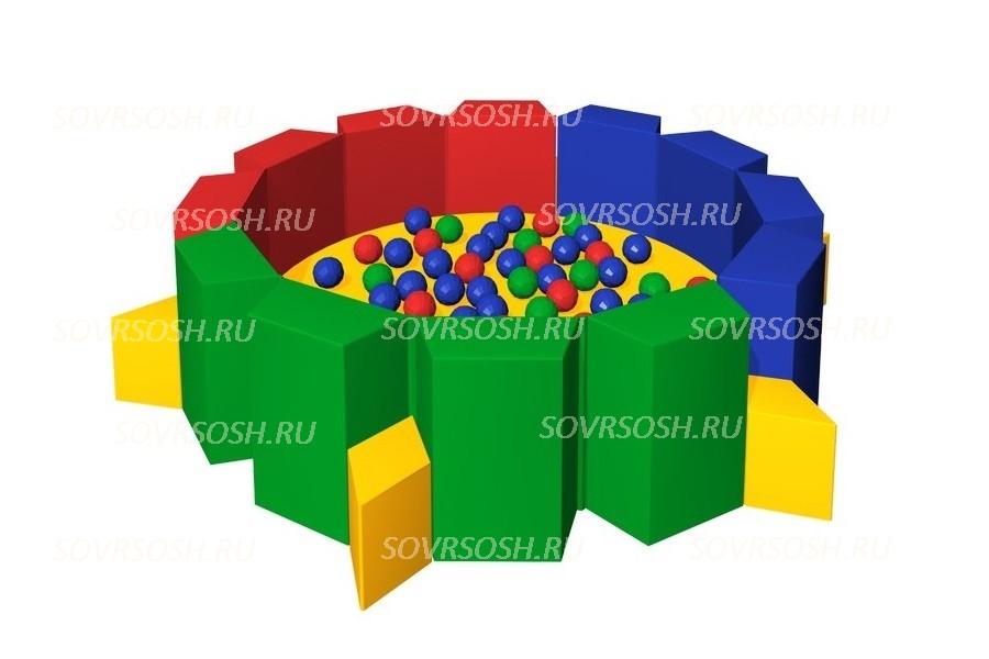 Мягкий игровой сухой бассейн из винилискожи Калейдоскоп (300 шариков)