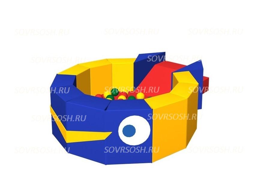 Мягкий игровой сухой бассейн из винилискожи Кит (300 шариков)
