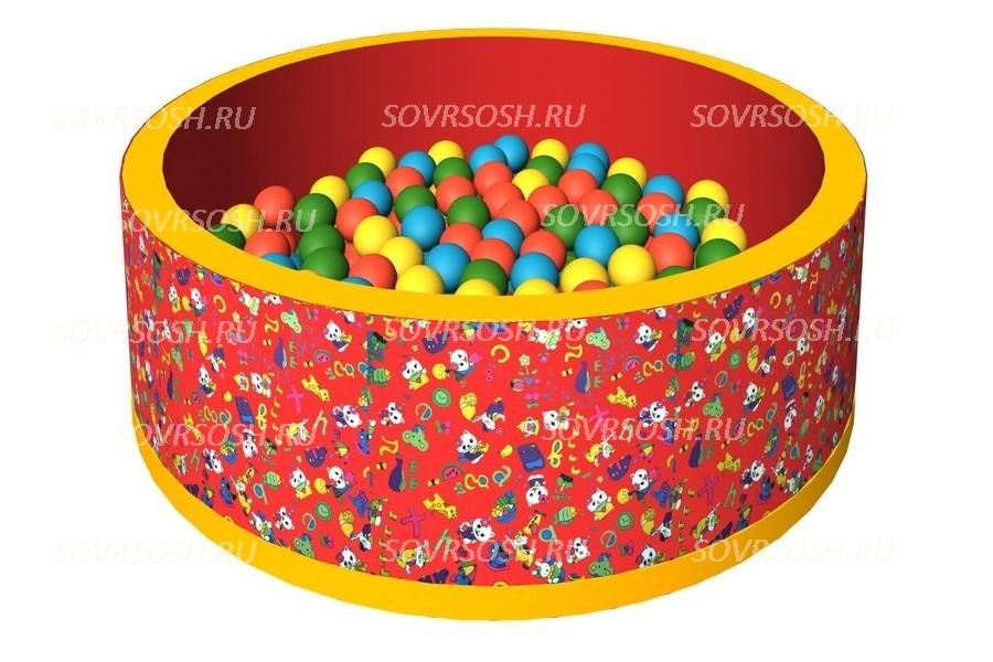 Мягкий игровой сухой бассейн тканевый Веселая полянка (150 шариков)