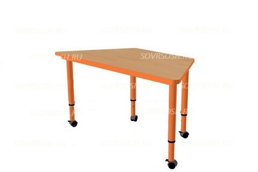 Модуль дидактической мебели САМОДЕЛКИН (стол трапециевидный регулируемый на колесиках)