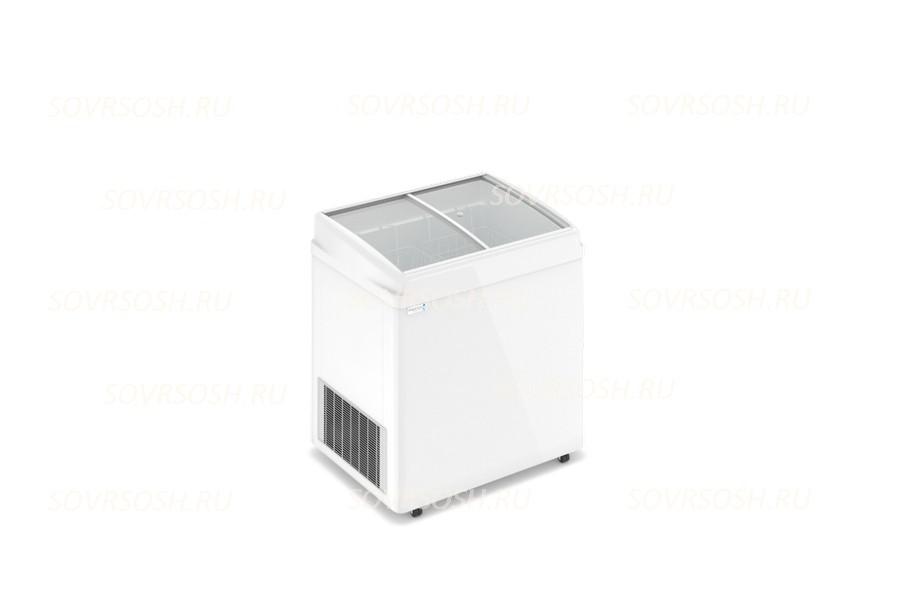 Морозильный ларь F 200 E / 230л, Гнутое  стекло, 800х600х820мм, 2 корзины, колеса, замок