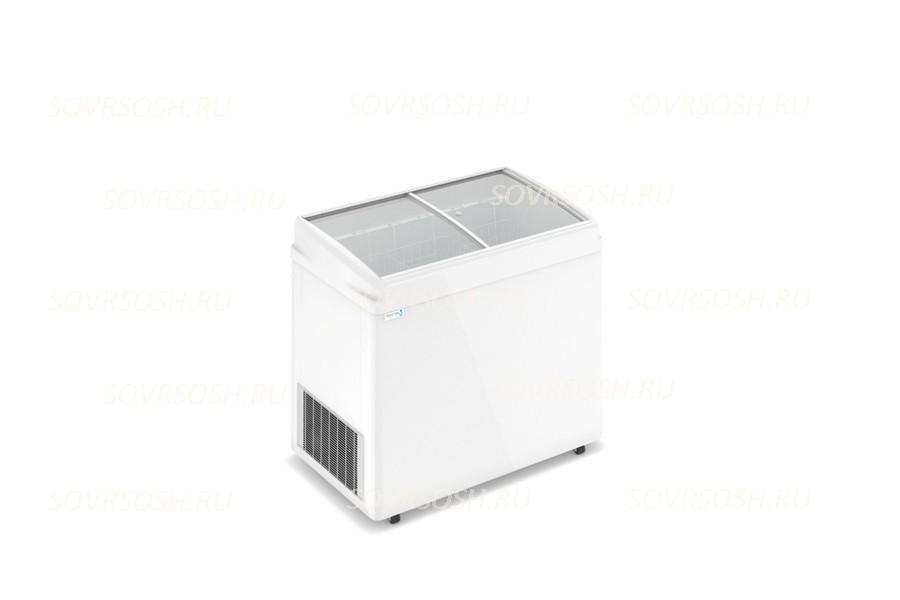 Морозильный ларь F 300 E / 300л, Гнутое  стекло, 1000х600х820мм, 3 корзины, колеса, замок