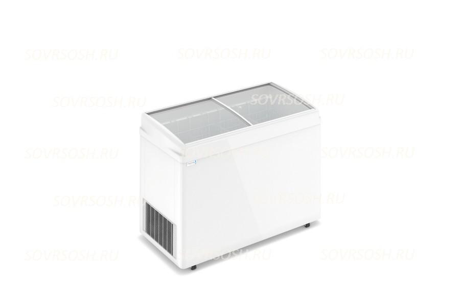 Морозильный ларь F 400 E / 368л, Гнутое  стекло, 1200х600х820мм, 4 корзины, колеса, замок
