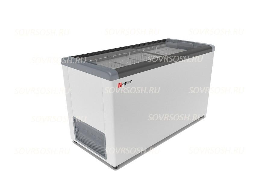 Морозильный ларь GELLAR FG 500 C / 450л, Прямое стекло, 1410х600х850мм, 6 корзин, колеса, замок