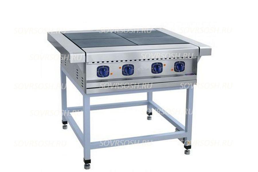 Плита электрическая 4-конфорочная без жарочного шкафа ПЭ-4 / 12кВт, 380В / вся нержавейка