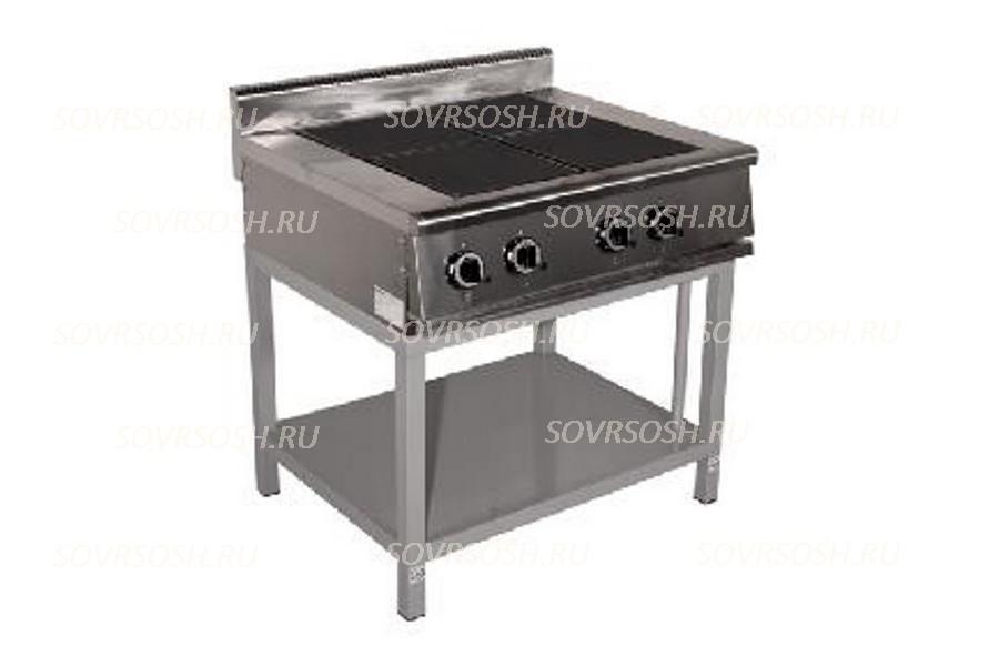 Плита электрическая 4-конфорочная без жарочного шкафа ПЭ-724О/ 11кВт, 380В / вся нержавейка