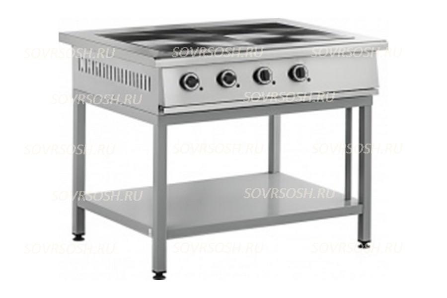 Плита электрическая 4-конфорочная без жарочного шкафа ПЭ-804О / 11кВт, 380В / вся нержавейка