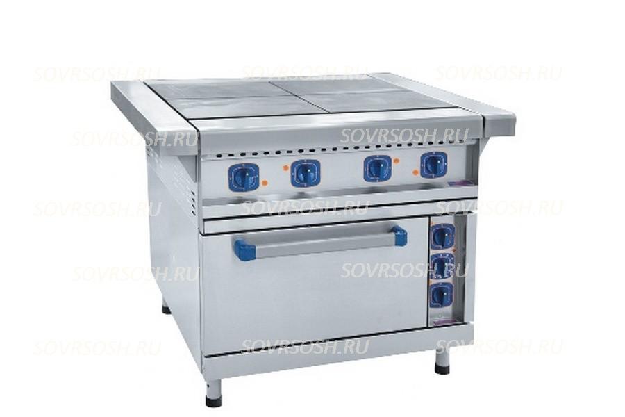 Плита электрическая 4-конфорочная с жарочным шкафом  ЭП-4ЖШ-01/ 16,8 кВт, 380В /лицевая нержавейка