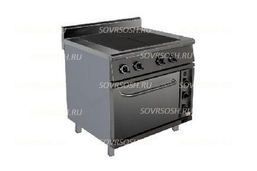 Плита электрическая 4-конфорочная с жарочным шкафом ПЭ-724ШК / 14кВт, 380В / вся нержавейка