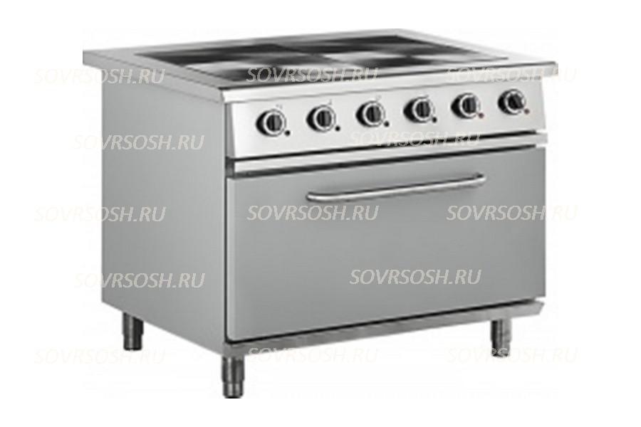 Плита электрическая 4-конфорочная с жарочным шкафом ПЭ-814Ш-01 / 15кВт, 380В / вся нержавейка