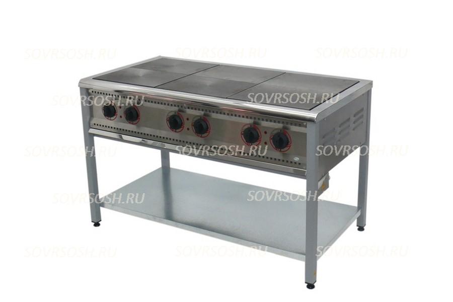 Плита электрическая 6-конфорочная без жарочного шкафа ПЭ-6 Н / 18кВт, 380В / вся нержавейка