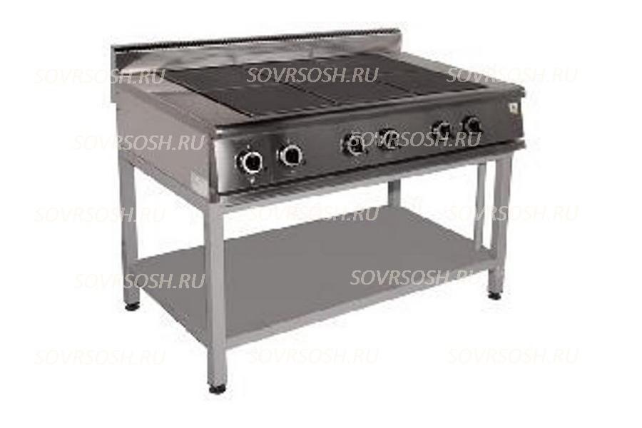 Плита электрическая 6-конфорочная без жарочного шкафа ПЭ-726О / 16,5кВт, 380В / вся нержавейка