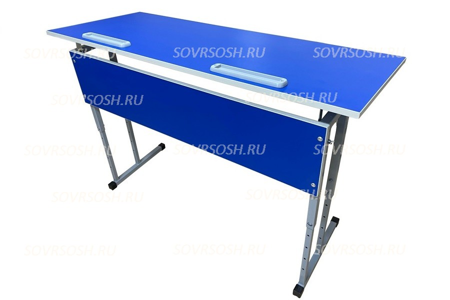 Стол ученический двухместный регулируемый по высоте и углу наклона 0-16 градусов СТО2прРУН